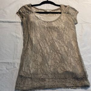 See through lace short sleeved cream/tan top